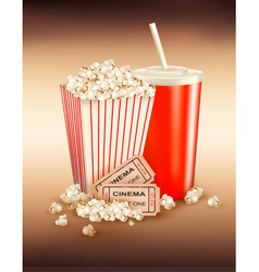 Popcorn box and cola and tickets vector