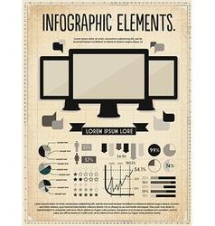Retro vintage set of infographic elements vector