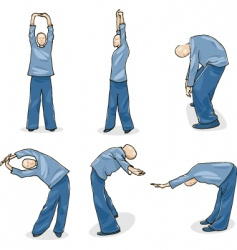 Man practice tai chi warm-up vector