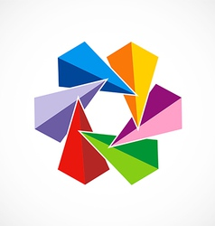 Triangle colorful circle abstract logo vector