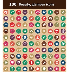 100 beauty glamour icons vector