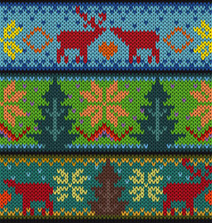 Knitted background with christmas ornament vector