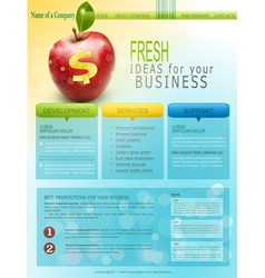 Website for business with red apple vector
