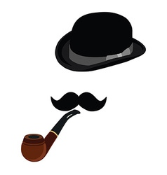 Bowler hat smoking pipe and mustache vector