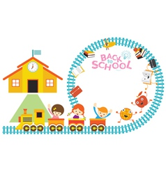 School train kids frame vector