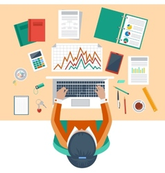 Business woman working with laptop and documents vector