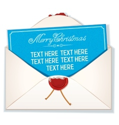 Envelope and card merry christmas vector
