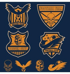 Football team crests set with eagles and skulls vector