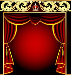 Vintage theater curtain vector