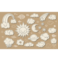 Cute sky doodle vector