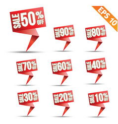 Sale discount colored origami banners - - e vector