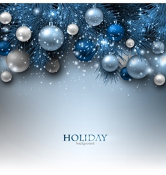 Blue christmas background with fir twigs and balls vector