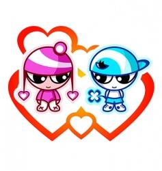 Kids in love vector