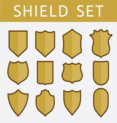 Gold shield set vector