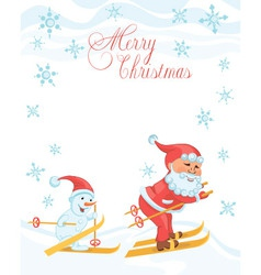 Christmas cartoon card with skiing santa vector