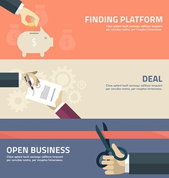 Flat design concept for finding deal startup vector