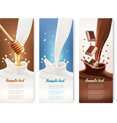 Set of milk honey and chocolate banners vector