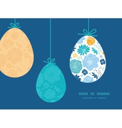 Blue and yellow flowersilhouettes hanging vector