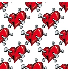 Cartoon nailed red hearts seamless pattern vector