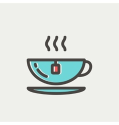 Hot tea in a cup thin line icon vector