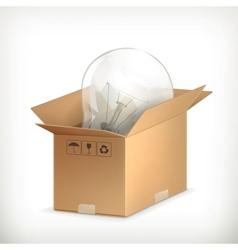 Light bulb in box vector