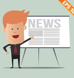 Cartoon business man present news - - eps10 vector