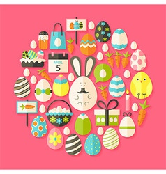 Easter holiday flat icons set circular shaped with vector