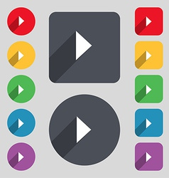 Play button icon sign a set of 12 colored buttons vector