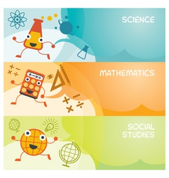 Education characters banner science math social vector