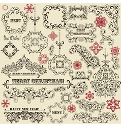Vintage holiday floral design elements vector