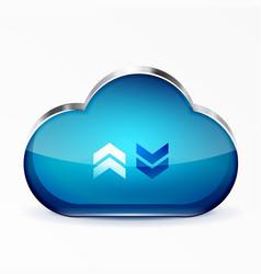 Blue modern 3d glass cloud icon vector