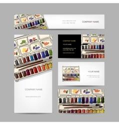 Set of creative business cards design paints vector