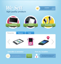 Mini e-commerce website template vector