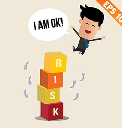 Cartoon businessman jump off risk block - - vector