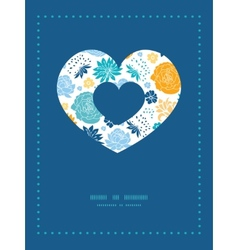 Blue and yellow flowersilhouettes heart vector