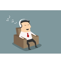 Businessman with headset listening music vector