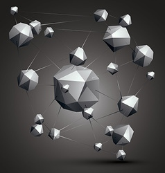 Complicated abstract grayscale 3d shapes digital vector