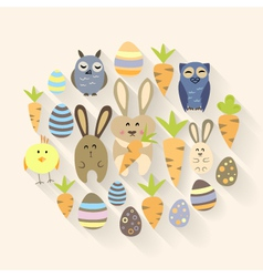 Easter eggs birds rabbits and carrots icons vector