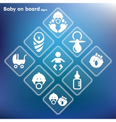 Flat baby on board sign setprint vector