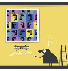 Character in museum with monsters in frames vector