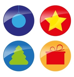 Xmas simple glossy color icons vector