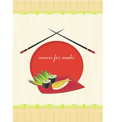 Menu for sushi - template design vector