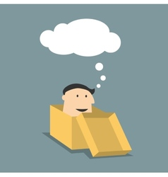 Cartoon man in a box with thought cloud vector