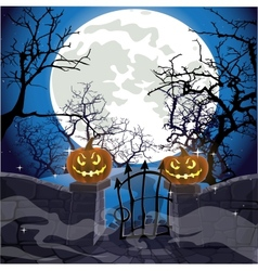 Halloween background fence with a gate vector