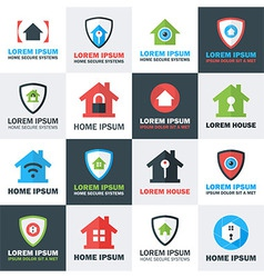 Home security logos set vector