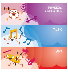Education characters banner physical music art vector