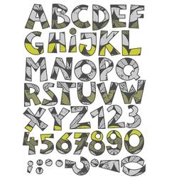 Retro leaf font set vector