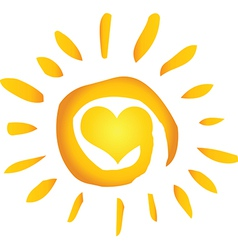 Hot abstract sun with heart vector
