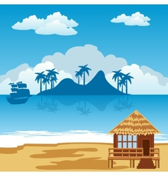 Tropical island and seaside vector