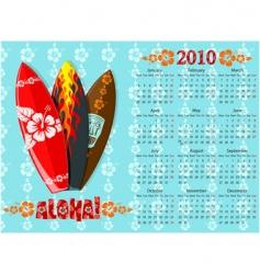 Aloha calendar with surf boards vector